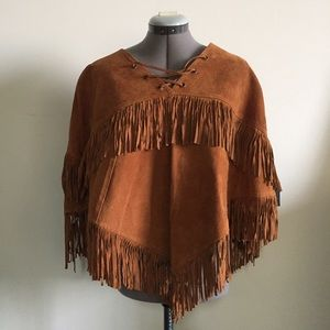 ✨Gorgeous Forever 21 genuine suede poncho✨
